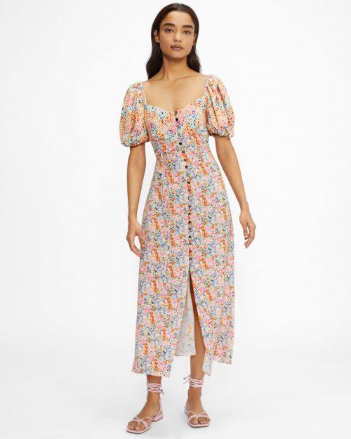 CREMTEA Puff Sleeve Square Neck Midi Dress