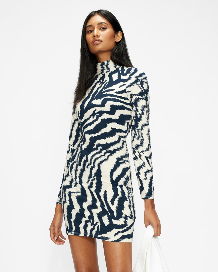 EARA Jersey striped mini dress
