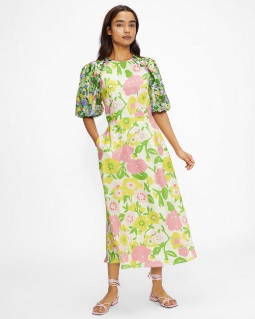 JAZLIYN Puff Sleeve Midi Dress