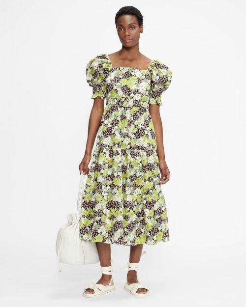 MAYSIIE Puff Sleeve Tiered Midi Dress