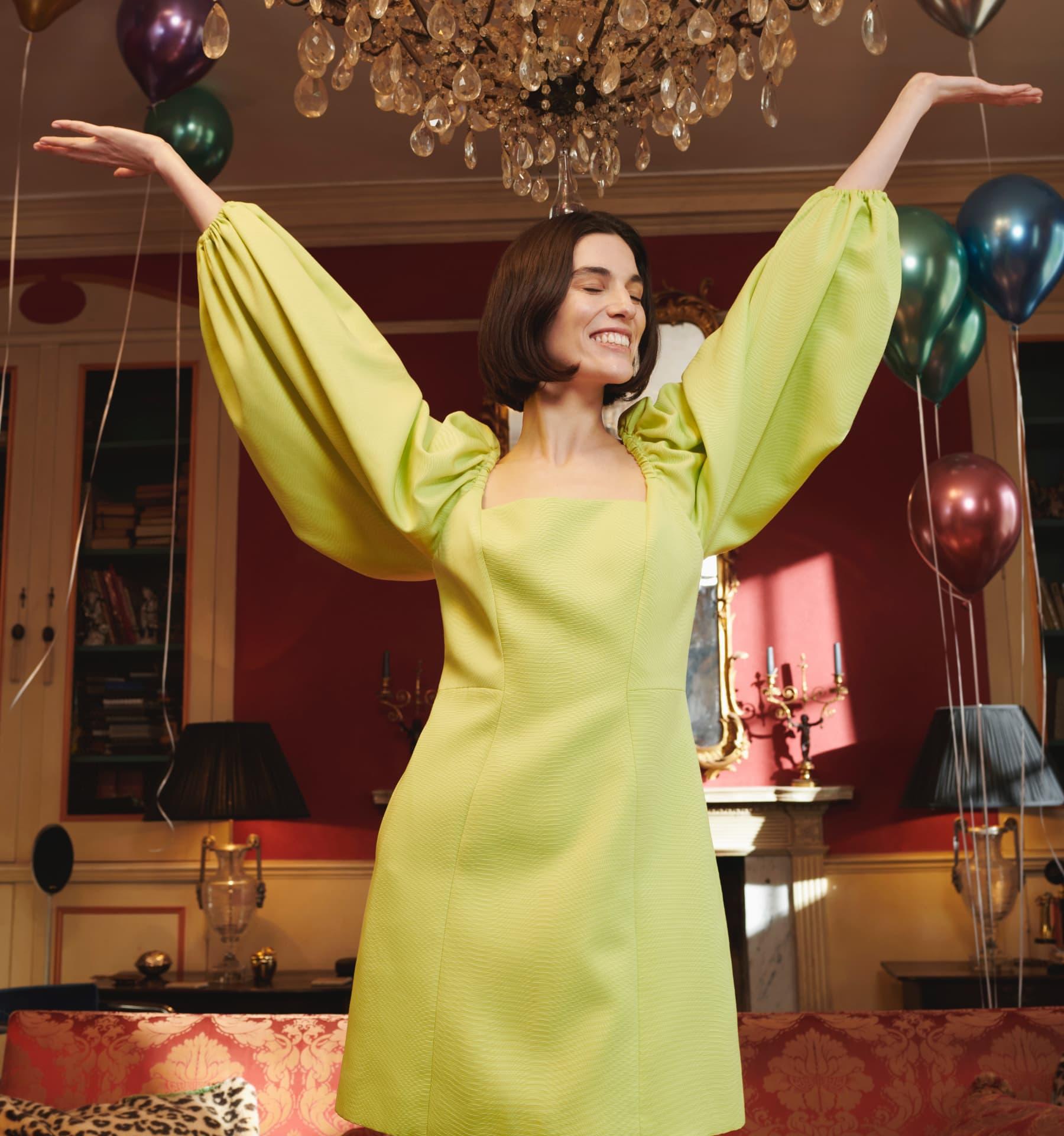 DISINA Mini Jacquard Exaggerated Sleeve Dress