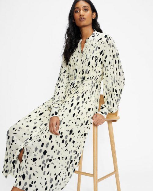 SUZZYY Midi Plisse Shirt Dress