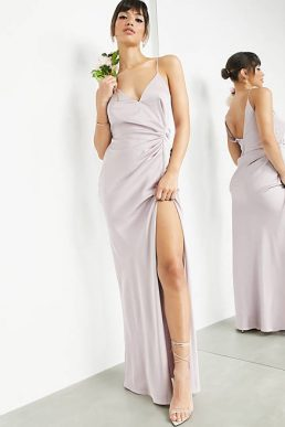 ASOS EDITION satin cami maxi dress with drape detail in pale lavender