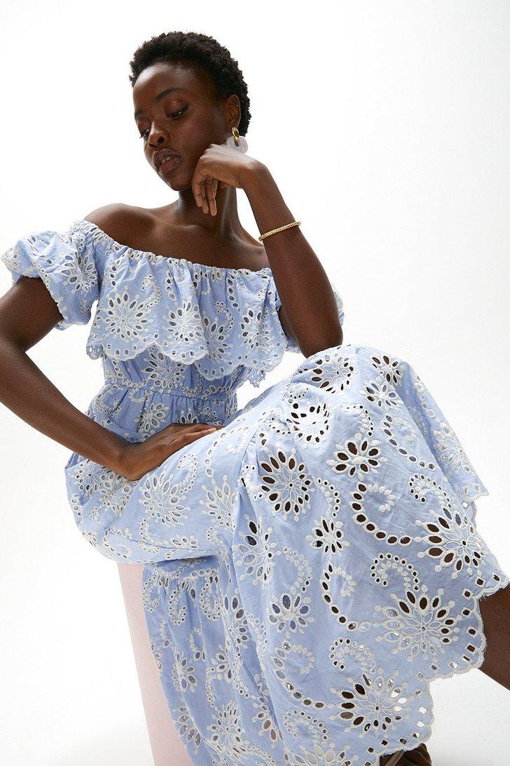 Midi Ruffle Broderie Dress