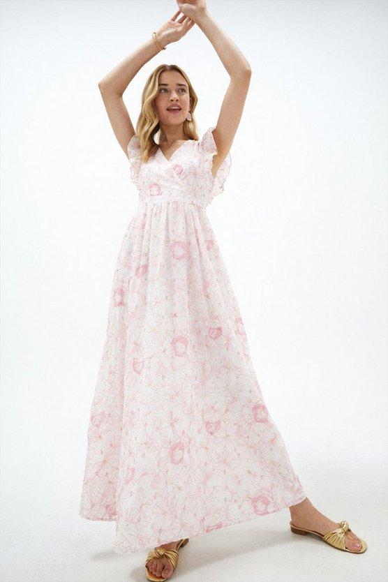 V Neck Broderie Maxi Dress