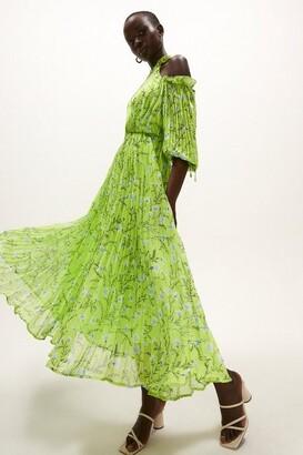 Coast Cold Shoulder Pleated Midaxi Dress Green Multi