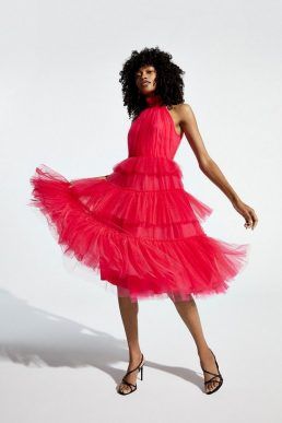 Coast High Neck Tulle Tiered Midi Dress Hot Pink