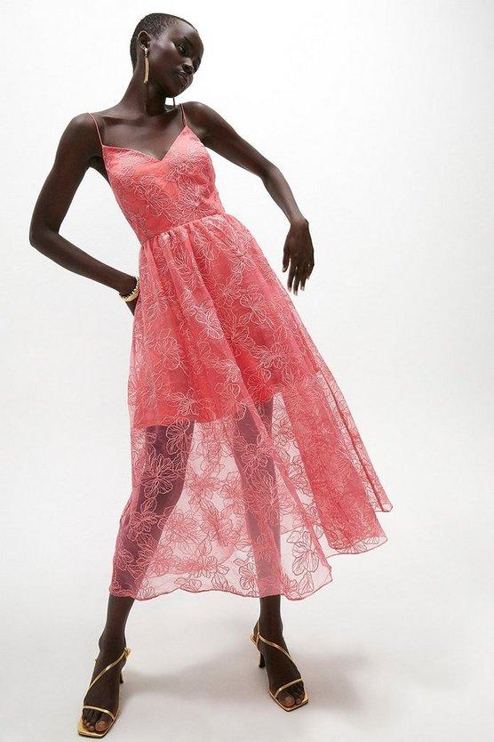 Fleur Embroidered Organza Midi Dress