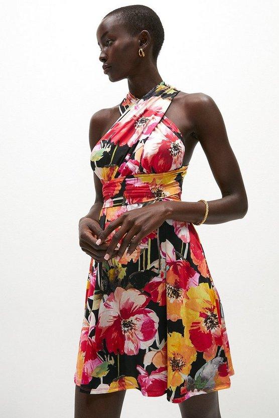 Printed Multiway Jersey Mini Dress