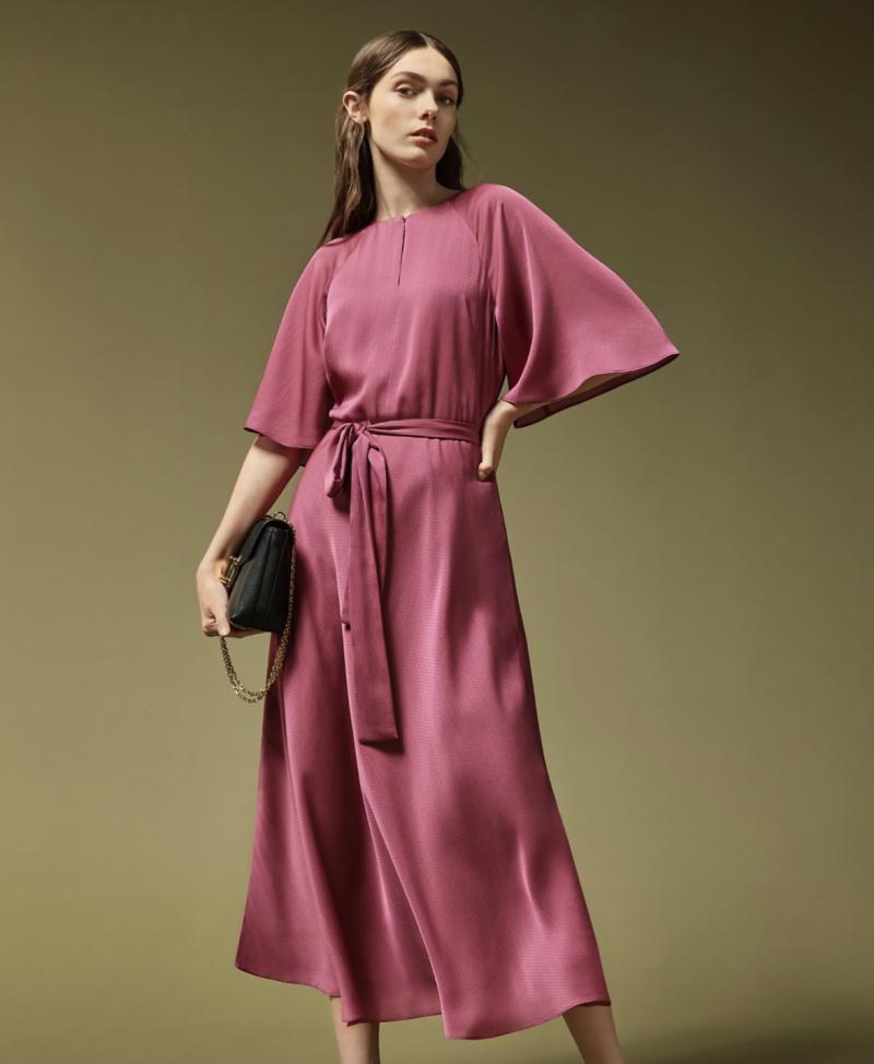 HARIIET Raglan sleeve tea midi dress