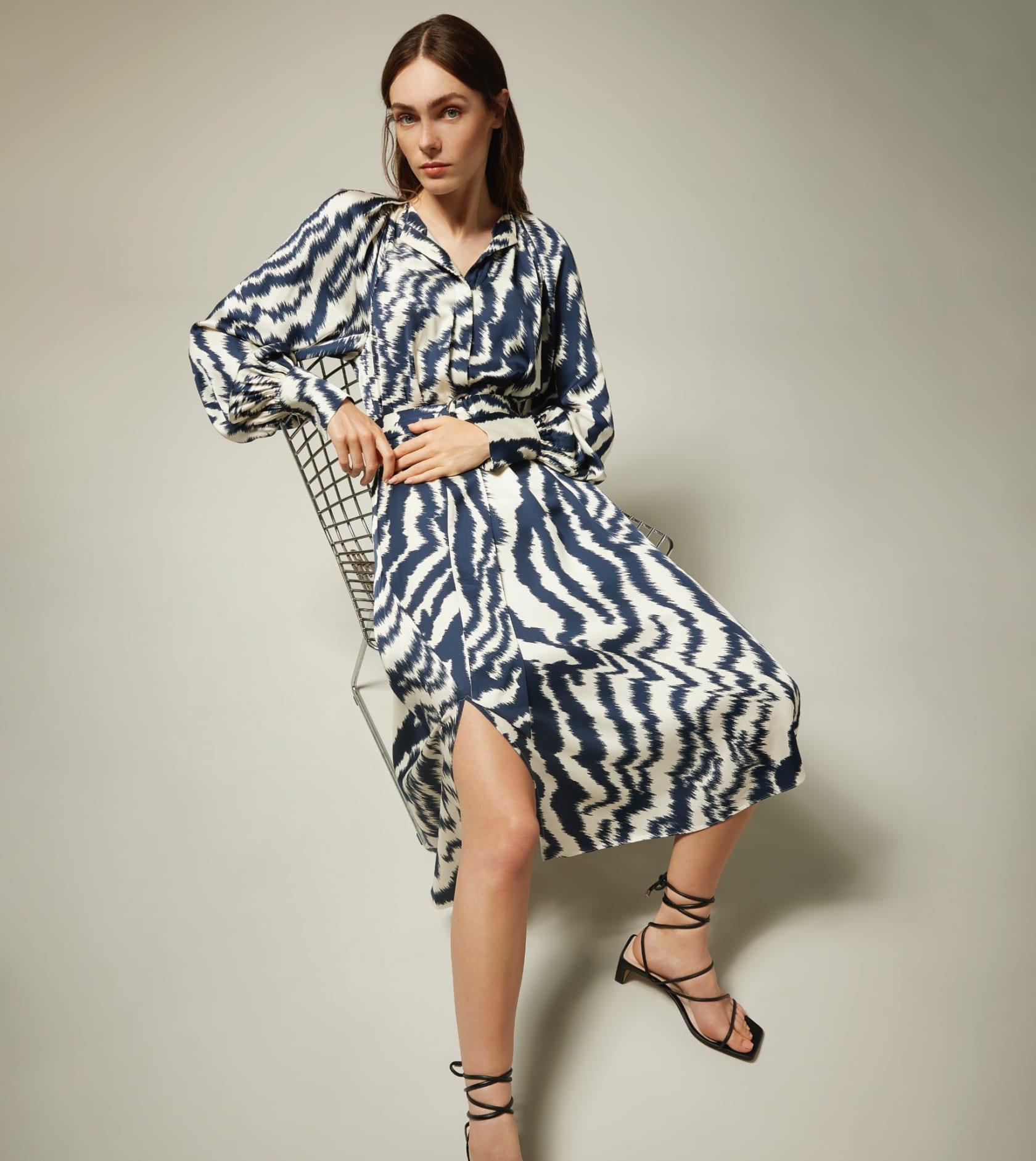 SANDIIA Printed long sleeved midi dress cuffs