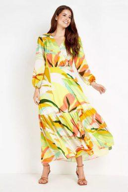 Wallis Lime Abstract Tiered Maxi Dress Yellow Orange Multi
