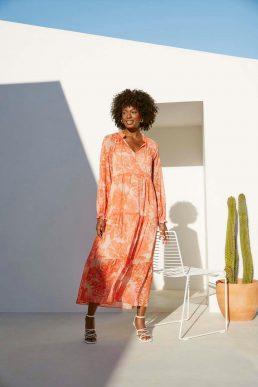 Wallis Orange Large Paisley Chiffon Tiered Dress
