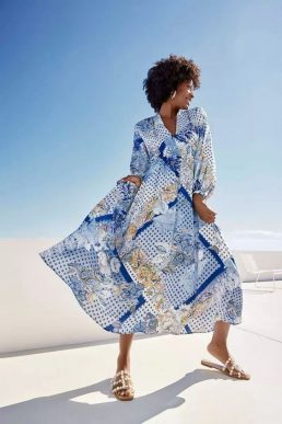 Wallis Paisley Scarf Print Volume Sleeve Midi Dress Blue White Multi