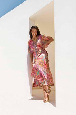 Wallis Petite Pink Paisley Cape Sleeve Dress Pink Multi