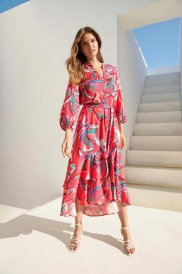 Wallis Print Layered Midi Shirt Dress Pink Multi