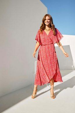 Wallis Red Ditsy Metallic Cape Sleeve Dress Red White