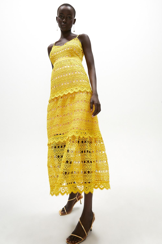 Geo Lace Strappy Midi Dress
