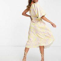 ASOS DESIGN one shoulder puff sleeve floral midi skater dress Multi Yellow