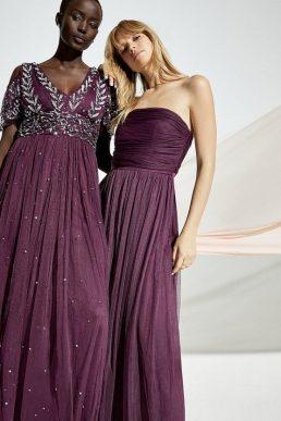 Coast Bandeau Tulle Maxi Dress Berry Purple