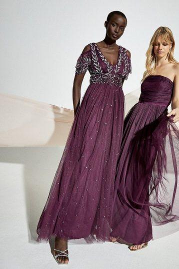 Coast Cold Shoulder Embellished Maxi Dress Berry Purple