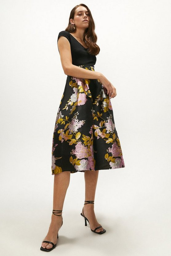 Cross Front Jacquard Midi Dress