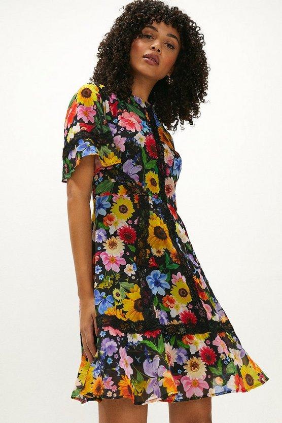 Floral Lace Trim Angel Sleeve Mini Dress