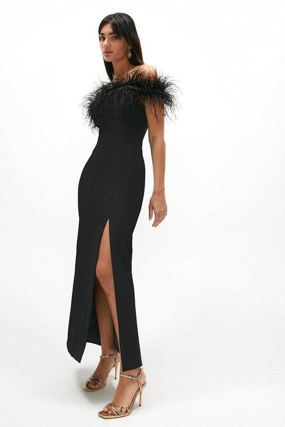 Premium Feather Bardot Maxi Dress