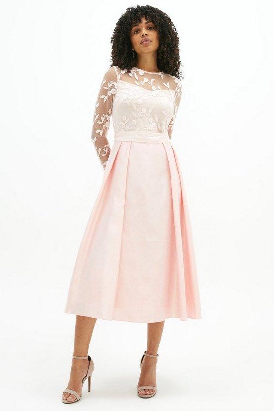 Embroidered Bodice Satin Skirt Dress