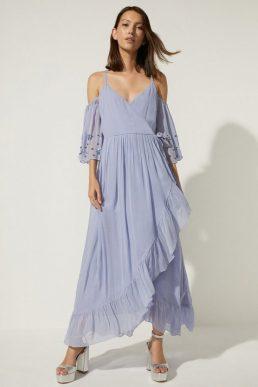 Oasis Embellished Cold Shoulder Wrap Midi Dress Lilac