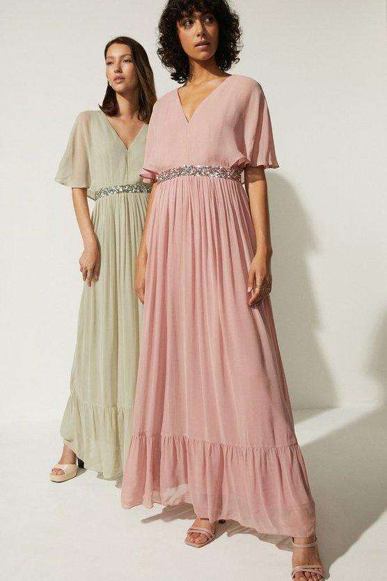 Oasis Plunge V Neck Embellished Waist Maxi Dress