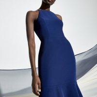 Coast Halter Neck Tiered Hem Maxi Dress Navy Blue
