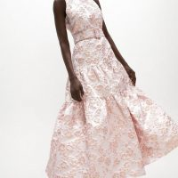 Coast Premium Jacquard Tiered Midaxi Dress Baby Pink Blush