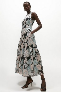Coast Premium Jacquard Tiered Midaxi Dress Black Multi