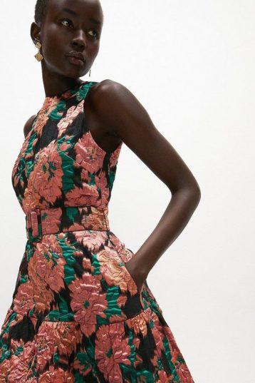 Coast Premium Jacquard Tiered Midaxi Dress Black Pink Coral