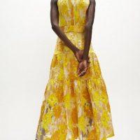 Coast Premium Jacquard Tiered Midaxi Dress Yellow