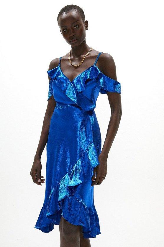 Satin Cold Shoulder Strappy Wrap Dress
