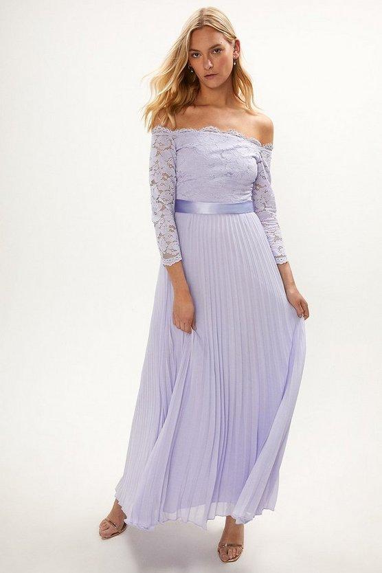 Lace Bodice Bardot Maxi Dress