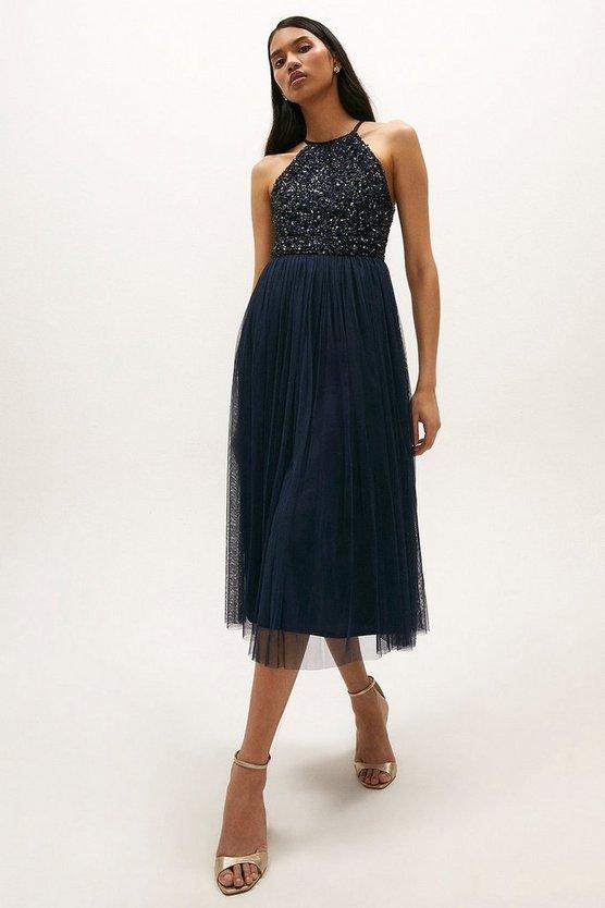 Halter Neck Sequin Bodice Midi Dress