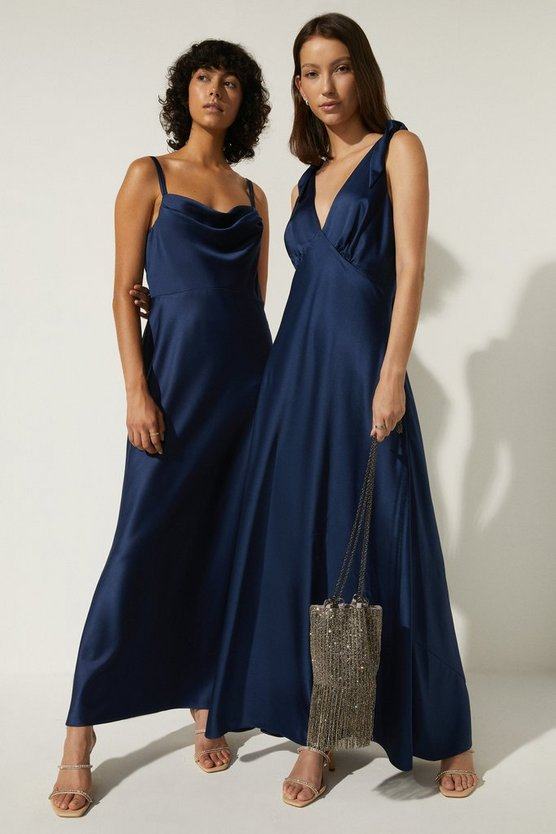 Oasis Tie Strap Bias Cut Maxi Dress