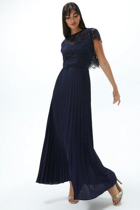 Pleat Skirt Lace Maxi Dress