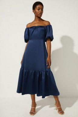 Oasis Bardot Ruched Front Midi Dress Navy Blue