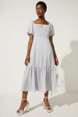 Oasis Bardot Ruched Front Midi Dress Pale Blue Light Grey