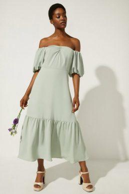 Oasis Bardot Ruched Front Midi Dress Pale Green Sage