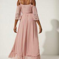 Oasis Embellished Cold Shoulder Wrap Midi Dress Blush Pink