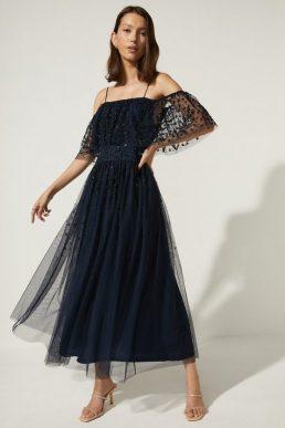 Oasis Embellished Mesh Bardot Midi Dress Navy Blue