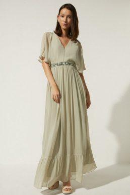 Oasis Plunge V Neck Embellished Waist Maxi Dress Sage Green