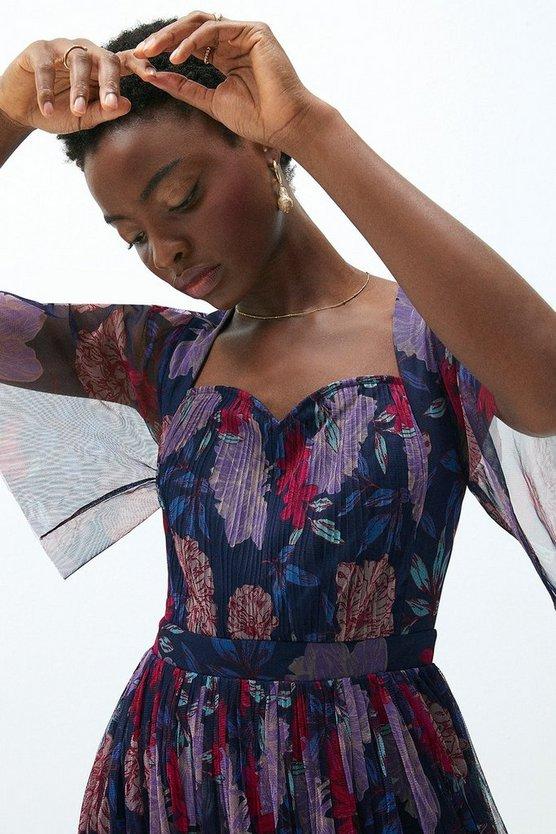 Printed Frill Sleeve Maxi Dress