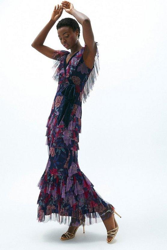 Tulle And Velvet Mix Wrap Maxi Dress