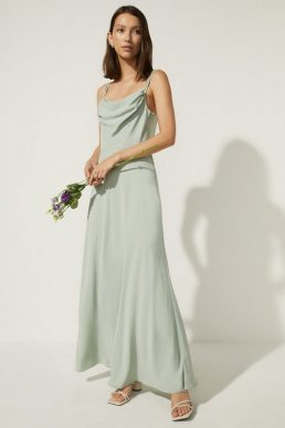 Oasis Cowl Double Strap Midi Dress, Sage Green